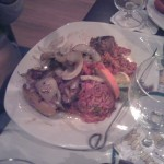Zwiebel Reis Steak von Oben
